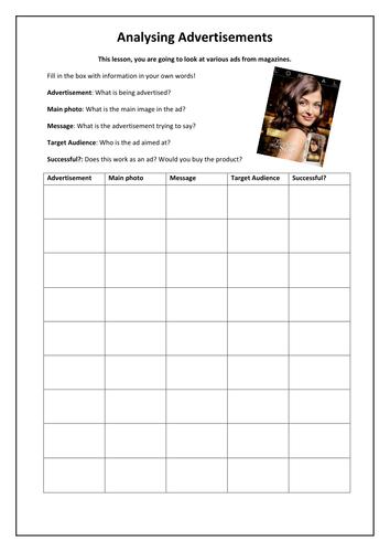 Useful handout to analyze magazine ads