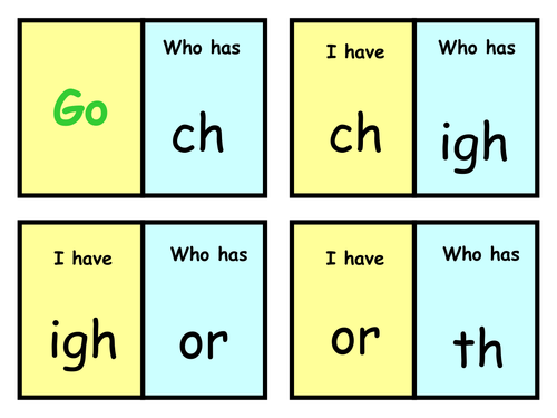 """""""I Have; Who Has"""" Cards for phonics patterns"""