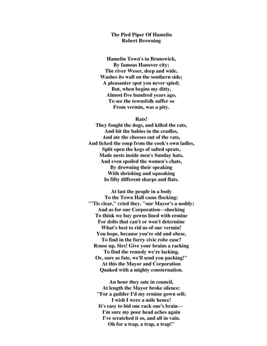 Pied Piper Poem by Robert Browning