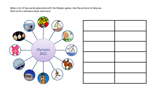 Olympic key word and sentence writing