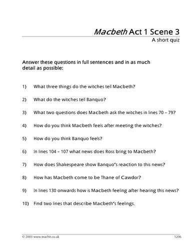Macbeth Act 1 Scene 3 By Leandri Lotter Teaching Resources