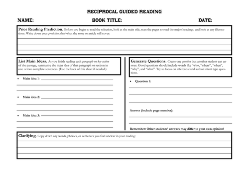Reciprocal Guided Reading - Student Task Sheet