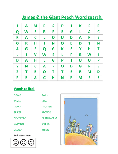 James The Giant Peach Word Search By Kayld Teaching