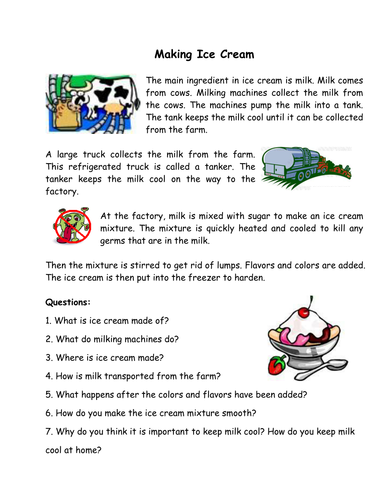 Reading comprehension making ice cream by carolebeachill reading comprehension making ice cream by carolebeachill teaching resources tes ccuart Gallery