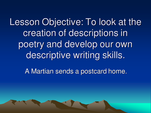 a martian sends a postcard home essay A martian sends a postcard home craig raine, 1979 caxtons are mechanical birds with many wings and some are treasured for their markings a custom essay.