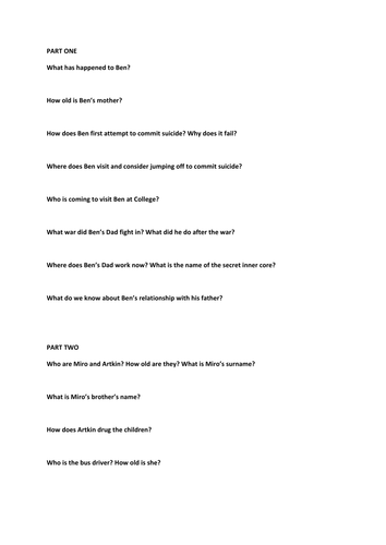 after the first death reading assessment by hetherlouise  after the first death part 1 to 3 questionnaire