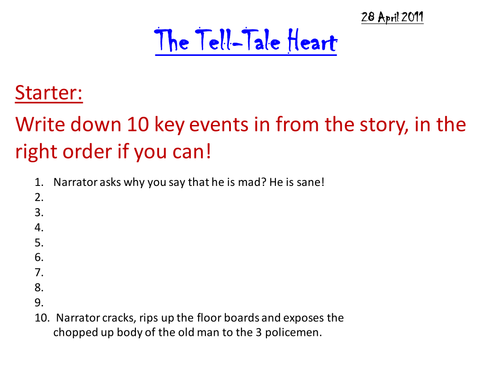 The Tell-Tale Heart Lesson 2 by he4therlouise - Teaching Resources ...