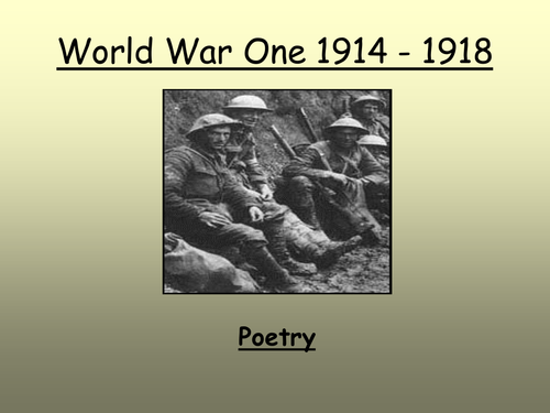 first world war poetry No conflict has ever been so closely linked with the poetry and literature of its age than the first world warwhen we consider the writers who emerged from this era, one of the most prominent is.