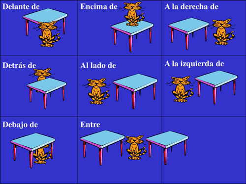 Prepositions cat pictures - French & Spanish