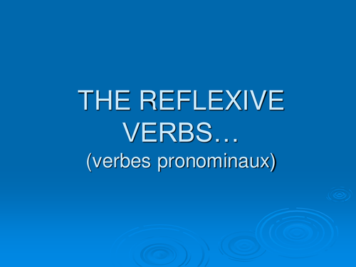 Introduction to reflexive verbs