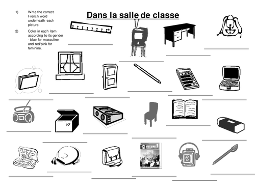 Classroom Items Coloring Handout By Ejdykes