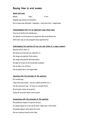 Spanish Buying Time When Speaking By Greenhappyfrog29 Teaching