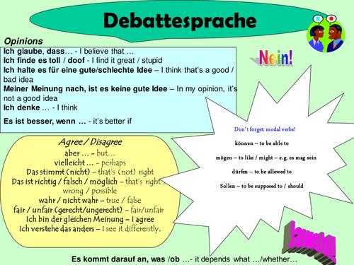 Debate prompt sheet - Debattesprache