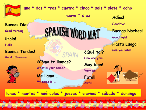 Spanish word mat by maureen hughes teaching resources tes m4hsunfo
