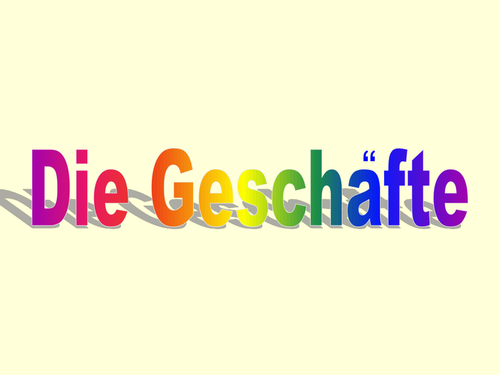 PowerPoint to introduce shops in German.