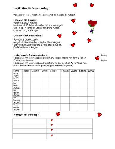German logic puzzle for Valentine\'s day by clairewillsmum - Teaching ...