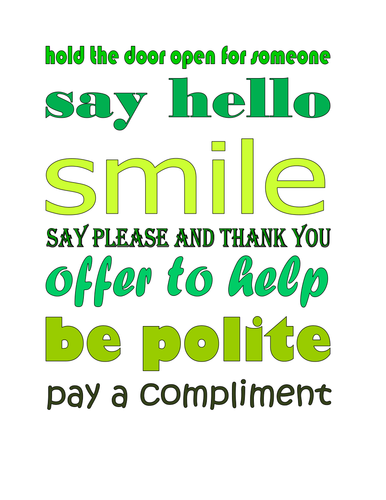 encouraging friendly behavior poster