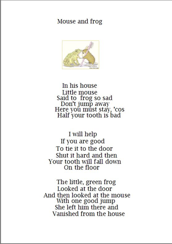 to a mouse poem