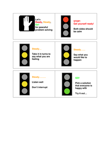 Traffic lights for peaceful problem solving