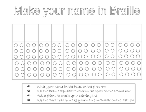 Make your name in Braille by springy Teaching Resources Tes – Braille Worksheets