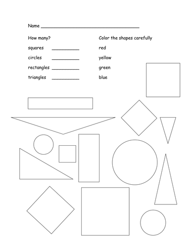 count and color the shapes