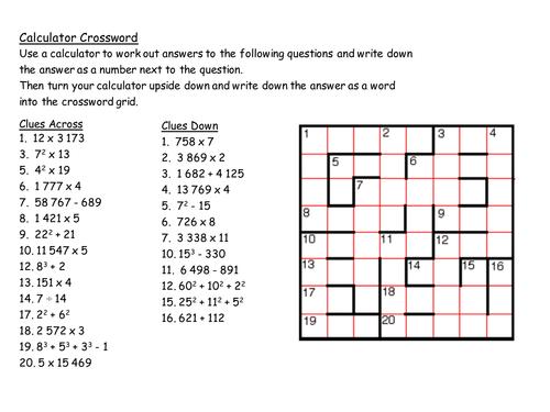 calculator crossword by mrbuckton4maths teaching resources. Black Bedroom Furniture Sets. Home Design Ideas