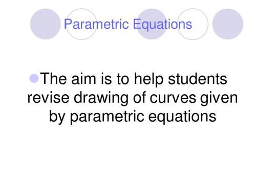 Pre-calculus and Parametric equation