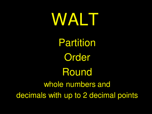A3 Partitioning, ordering and rounding whole numbers and decimals ...