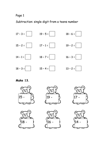 Subtraction booklet for numbers up to 20