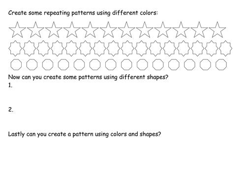 repeating patterns worksheet by kwar - Teaching Resources - TES