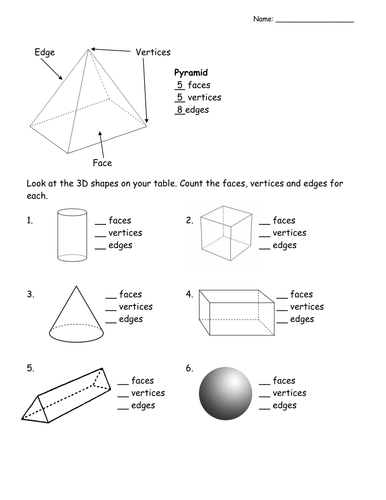 count the faces edges vertices of 3d shapes by l e1984 teaching resources. Black Bedroom Furniture Sets. Home Design Ideas
