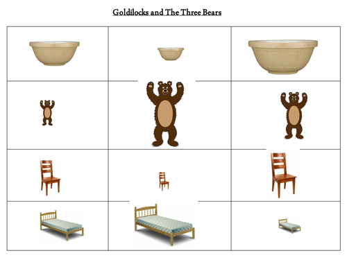 Goldilocks and the three bears size ordering by Kelly0404 – Goldilocks and the Three Bears Worksheets
