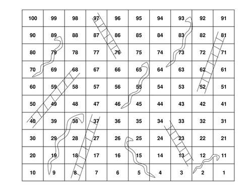 Snakes and ladders board by hannaharnold teaching for Snakes and ladders printable template