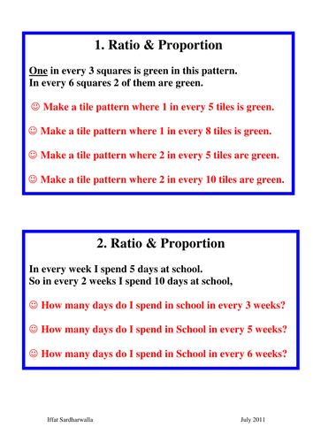 Ratio & Proportion Problem Cards by iffatsardharwalla - Teaching ...