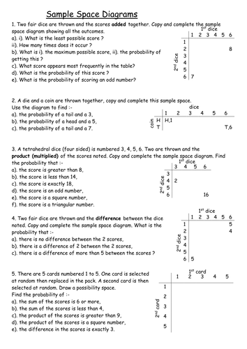 Worksheets Sample Space Worksheet sample space diagrams alternative by tristanjones teaching resources tes