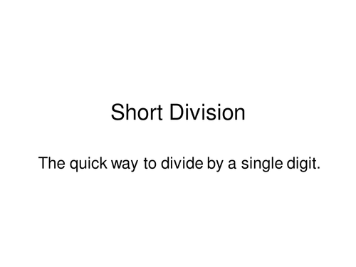 Short Division