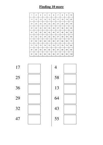 Free Worksheets » Place Value 10 More 10 Less Worksheets - Free ...