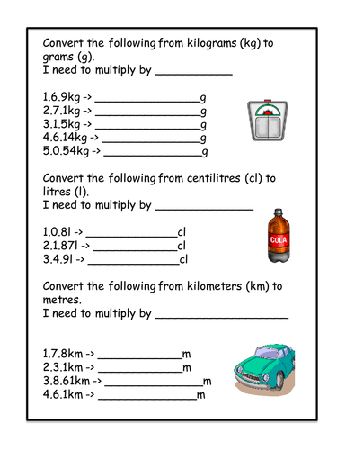 Conversion worksheet kg g cl l km m by amygaunt uk teaching resources tes - How to convert liter to kilogram ...