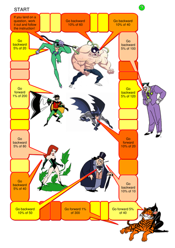 Percentages Board Game with Batman