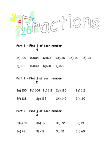 Finding fractions of numbers by d487nt - Teaching Resources - Tes