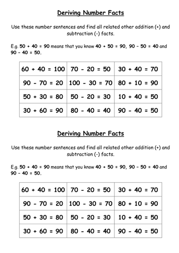 Recalling And Deriving Addition And Subtraction Facts To