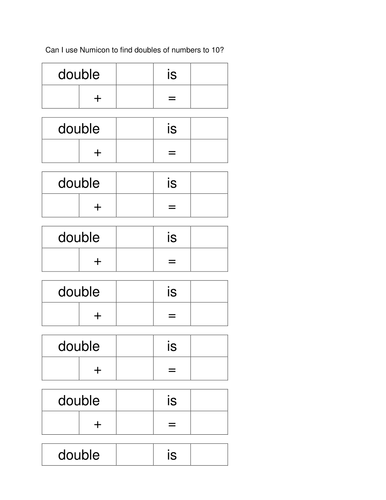 Y2 Doubles Worksheets