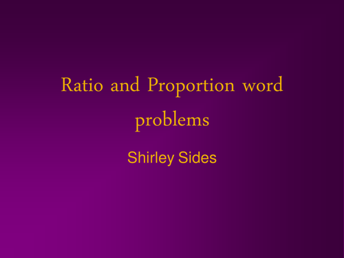 Ratio and proportion word problems