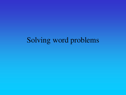 Solving word problems 5th Grade