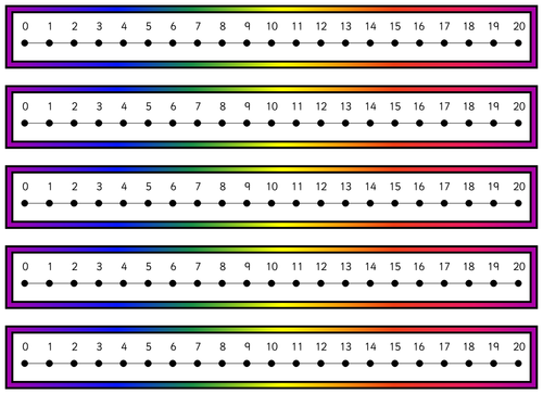 Revered image in printable number lines to 20