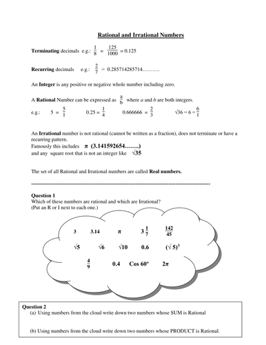 rational irrational numbers by mrvman teaching resources tes - Rational Numbers Worksheet
