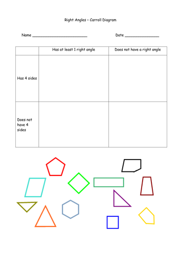 Right Angles Worksheets : Right angles iwb carroll diagram worksheet by uk