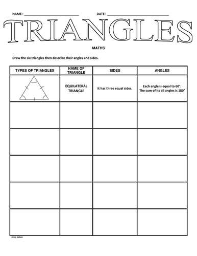 100+ [ Identifying Triangles Worksheet ] | Grade 8 Mr Elhajj ...