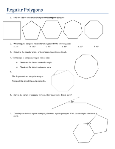 Angles In Regular Polygons By Tristanjones Teaching