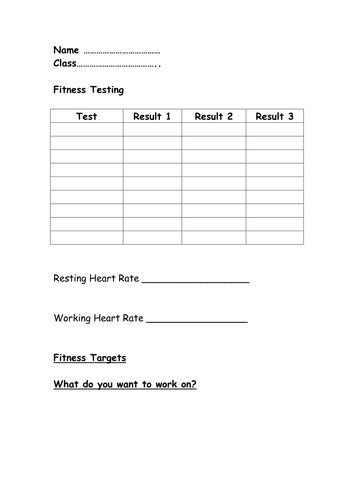 Fitness testing recording sheet by kimberley9 - Teaching Resources - Tes